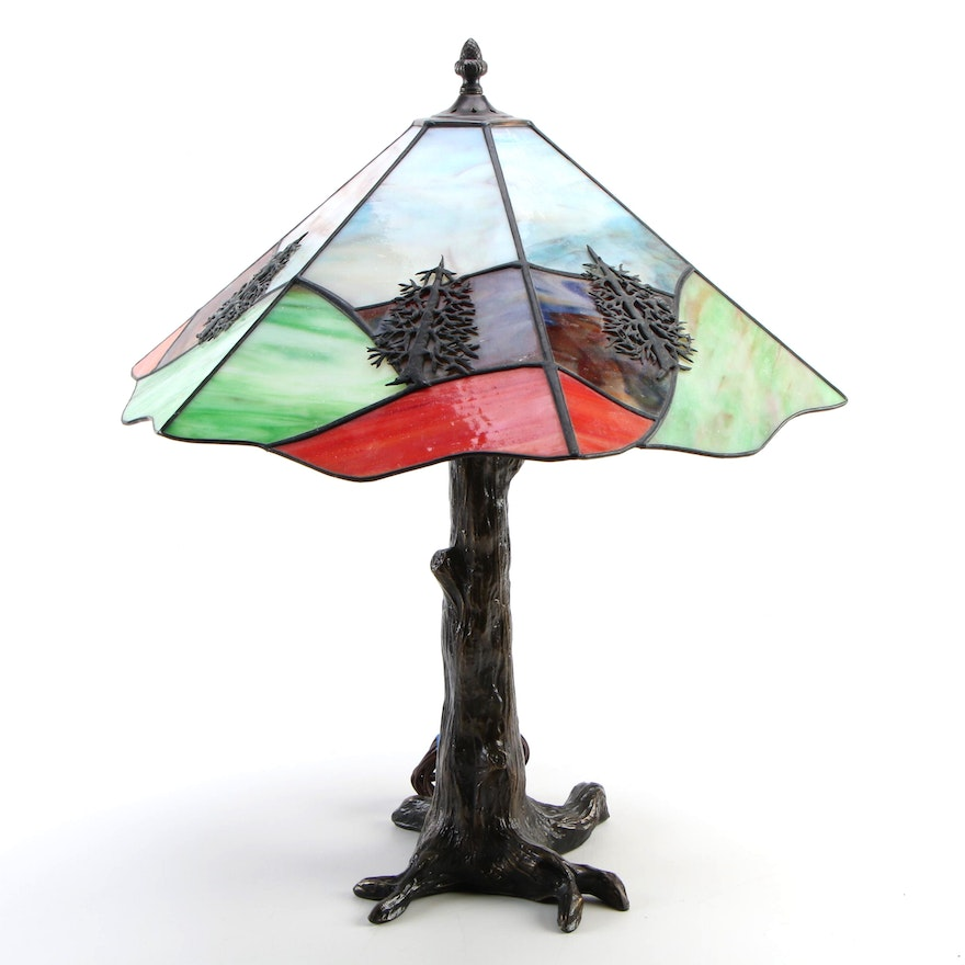 Rustic Style Slag Glass Table Lamp with Metal Tree Trunk Base