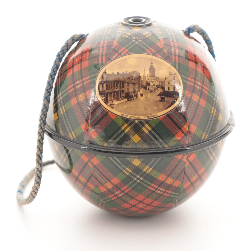 MacBeth Plaid Mauchline Ware Ornament with Photo Print of High Street, Dumfries