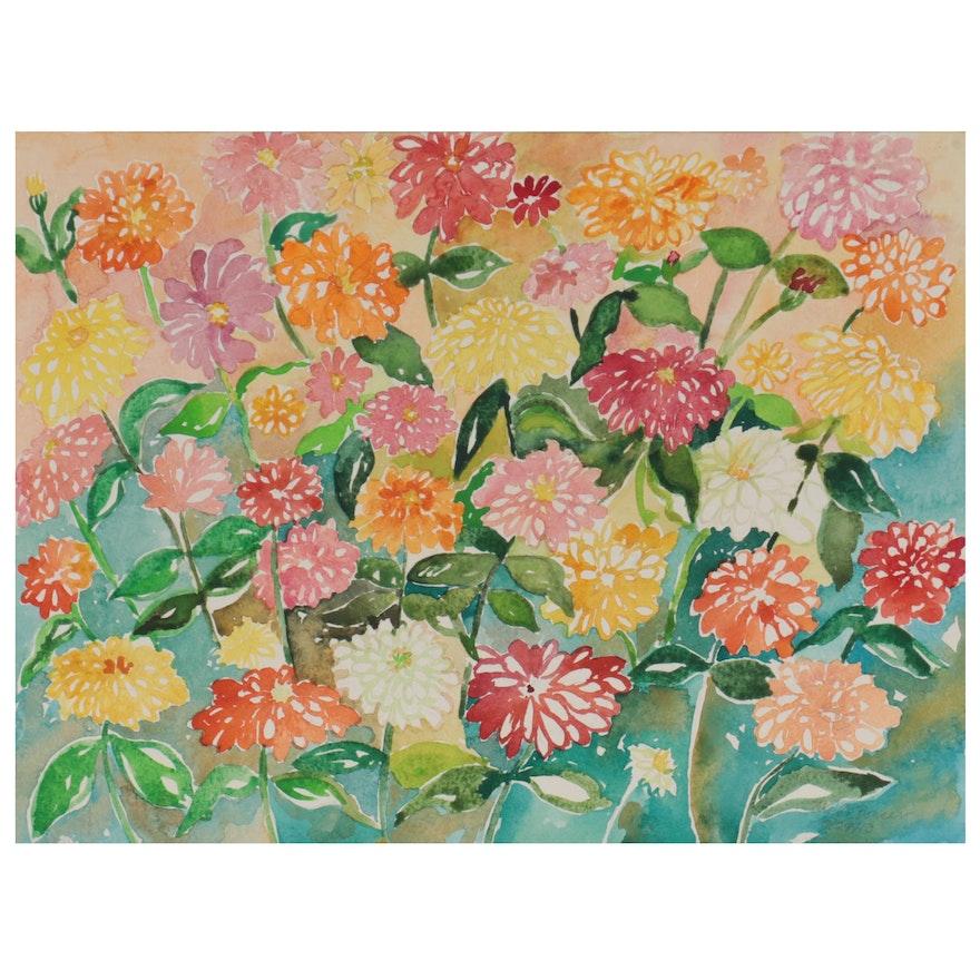 "Sheila Bonser Watercolor Painting ""Zinnia IV,"" 2013"