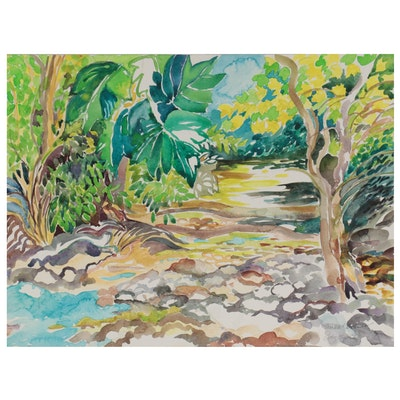 "Sheila Bonser Watercolor Painting ""Creek in Summer"""