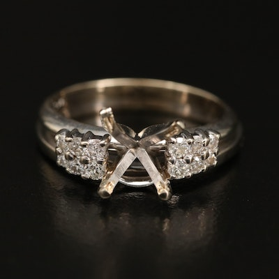14K Knife-Edge Solitaire Open-Mount Ring and Diamond Enhancer Band