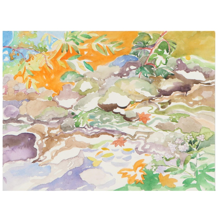 """Sheila Bonser Landscape Watercolor Painting """"Very Hot for September"""""""
