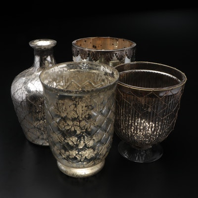 Acacia Mercury Glass Vase and Cachepots