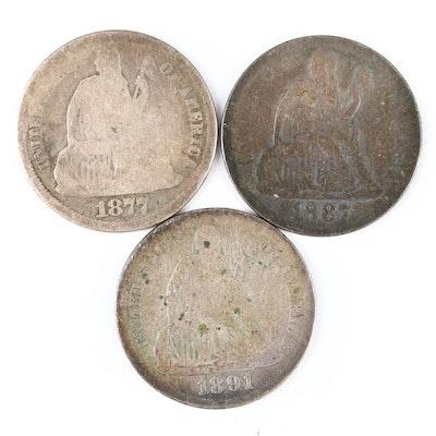 Three Liberty Seated Silver Dimes