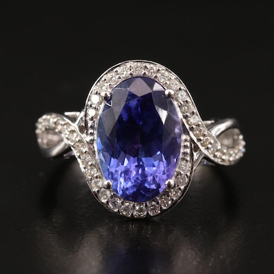18K 4.85 CT Tanzanite and Diamond Ring with Twist Shoulders