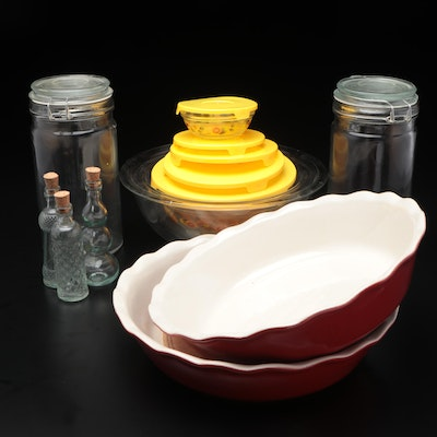 """Pyrex """"Flower Date"""" Set of Bowls with Lids and Other Baking Dishes"""