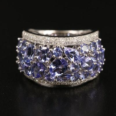 14K WHITE GOLD DIAMOND, TANZANITE RING