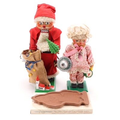 Steinbach Volkskunst Santa and Mrs. Claus Nutcrackers with Cookie Mold