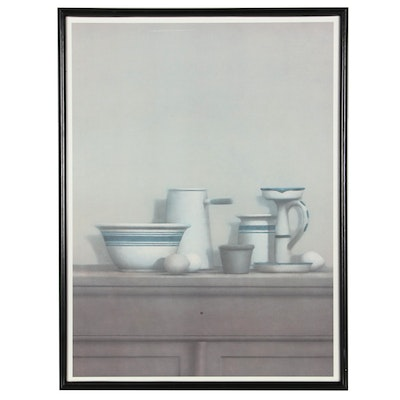 Offset Lithograph After William Bailey of Eggs, Candlestick, and Bowl
