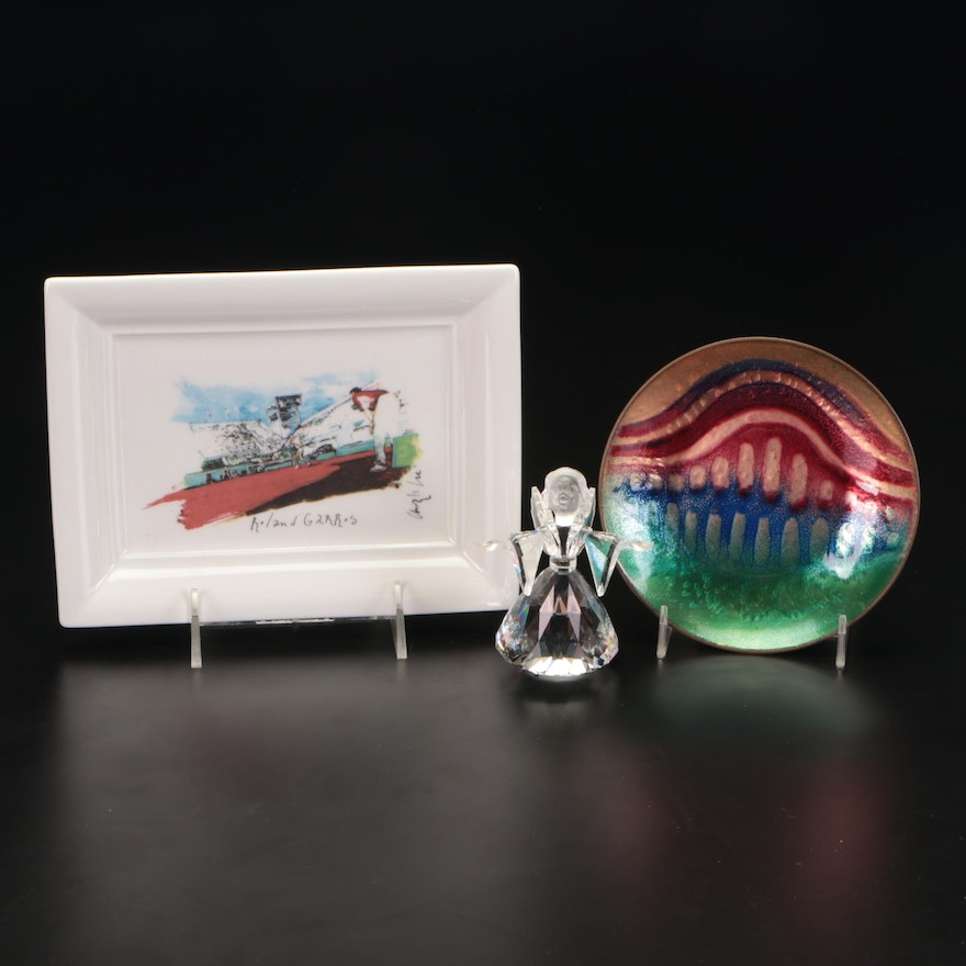 Roland Garros Porcelain and an Enameled Copper Tray with Crystal Angel Figurine