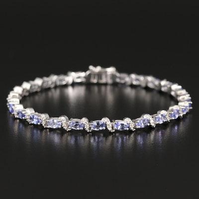 Sterling Tanzanite and Diamond Bracelet