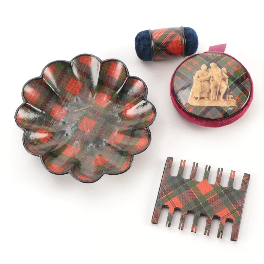 Scottish Mauchline Tartan Ware Pin Cushions, Thread Winder, and Shell Tray
