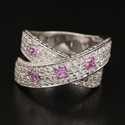 14K WHITE GOLD DIAMOND, PINK SAPPHIRE RING