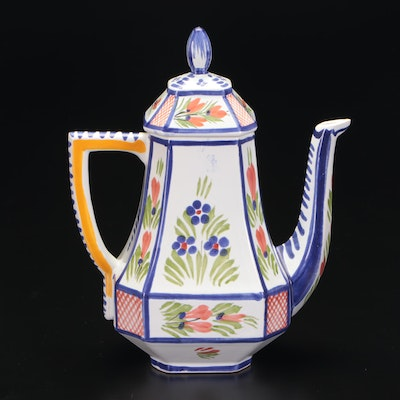 Henriot Quimper Hand-Painted Porcelain Teapot, Mid to Late 20th Century