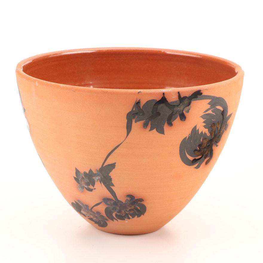 """Studio Pottery Terracotta Vase, Signed """"M Dunham"""""""
