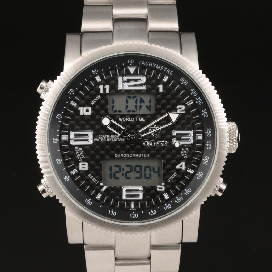Croton Chronomaster Stainless Steel Multifunction Quartz Wristwatch