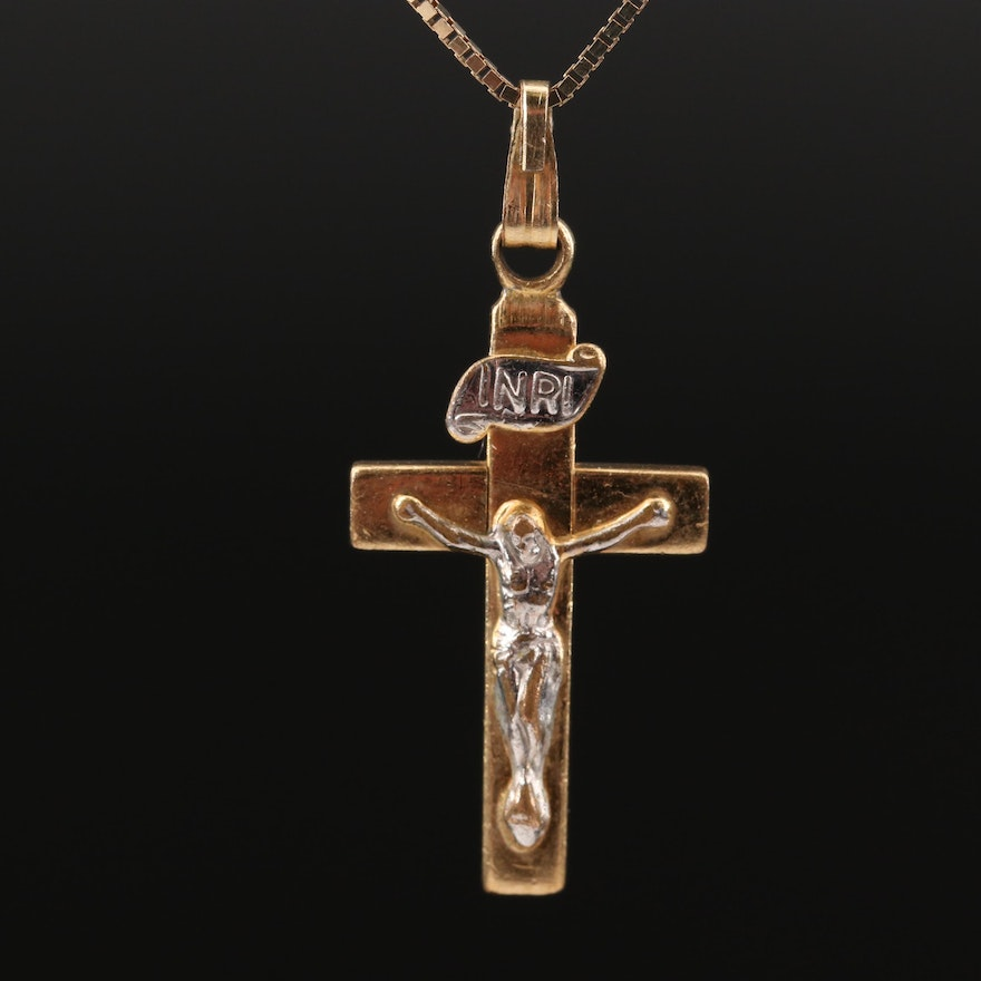 14K Crucifix with 14K Box Chain Necklace