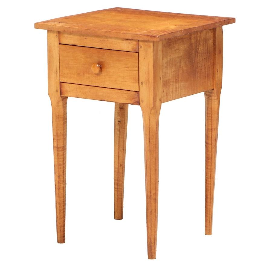 American Primitive Tiger Maple Side Table, 19th Century