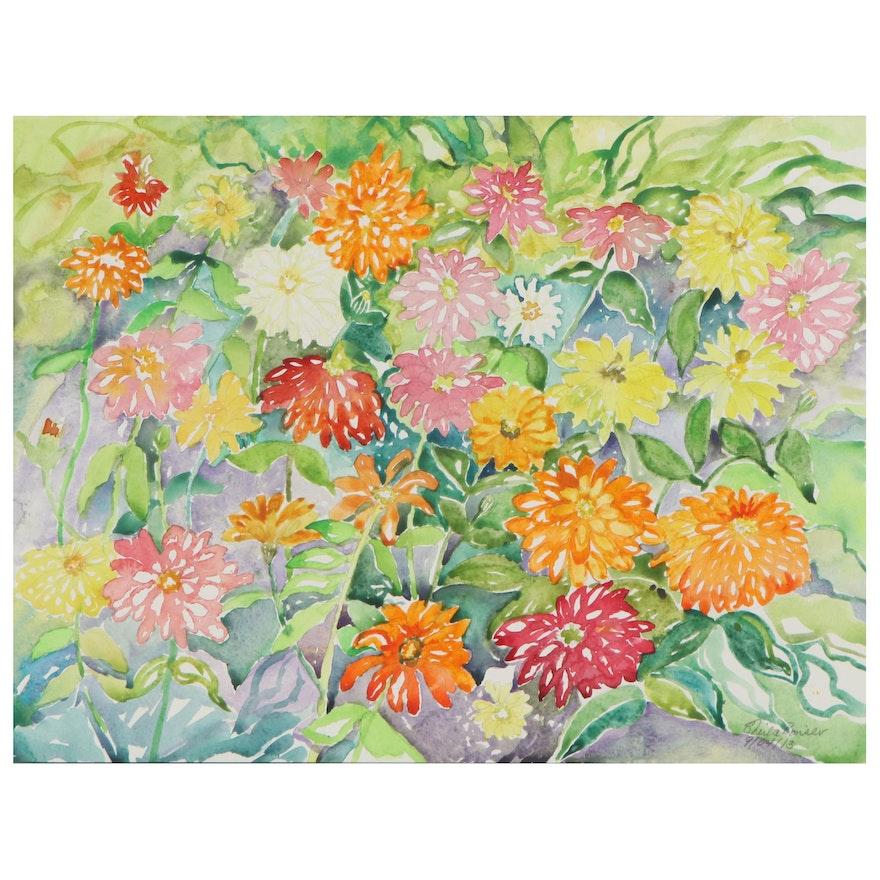 """Sheila Bonser Watercolor Painting """"Zinnias II,"""" 2013"""