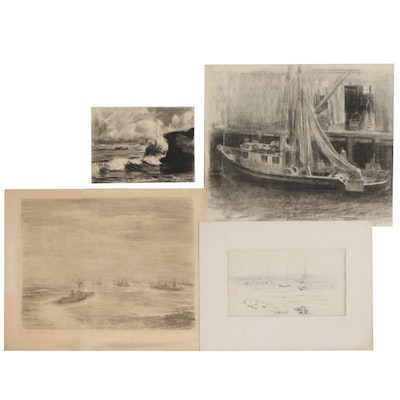 Edmond J. Fitzgerald Marine Charcoal and Graphite Drawings, Mid-20th Century