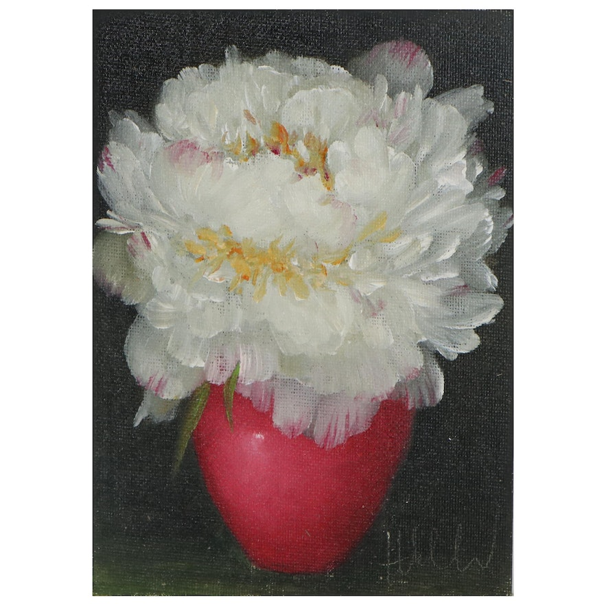 """Thu-Thuy Tran Still Life Oil Painting """"White Peony & Red Vase,"""" 2021"""