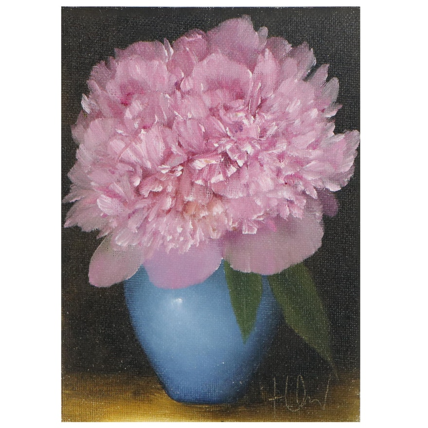 "Thu-Thuy Tran Still Life Oil Painting ""Pink Peony & Blue Vase,"" 2021"