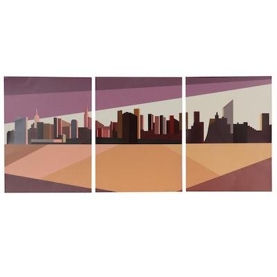 "Franco Costa Minimalist Triptych Serigraphs ""Oh Manhattan!"""