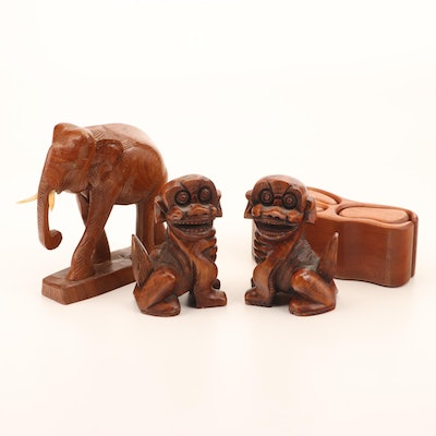Wooden Elephant, Chinese Guardian Lions, and Desk Accessory Organizer
