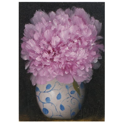 """Thu-Thuy Tran Floral Oil Painting """"Pale Pink Peony,"""" 2021"""