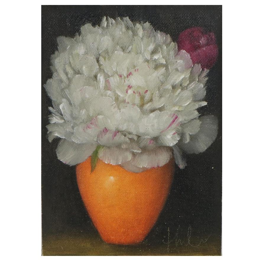 "Thu-Thuy Tran Floral Oil Painting ""White Peony & Orange Vase,"" 2021"