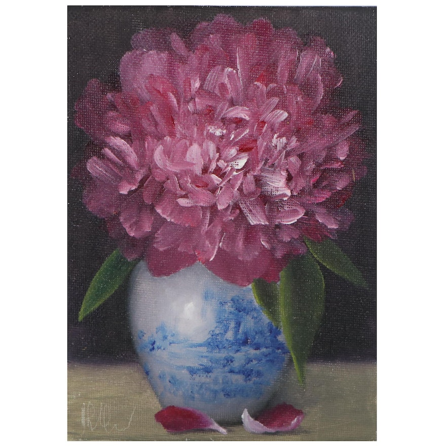 """Thu-Thuy Tran Floral Oil Painting """"Deep Pink Peony,"""" 2021"""