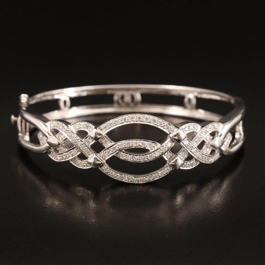 18K 1.25 CTW Diamond Hinged Bracelet