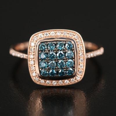 EFFY 14K ROSE GOLD DIAMOND, BLUE DIAMOND, RING