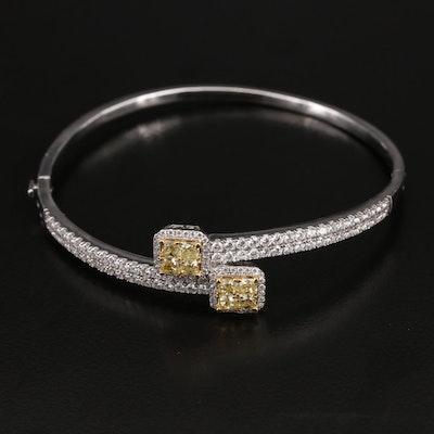 18K 3.20 CTW Diamond Bypass Hinged Bangle