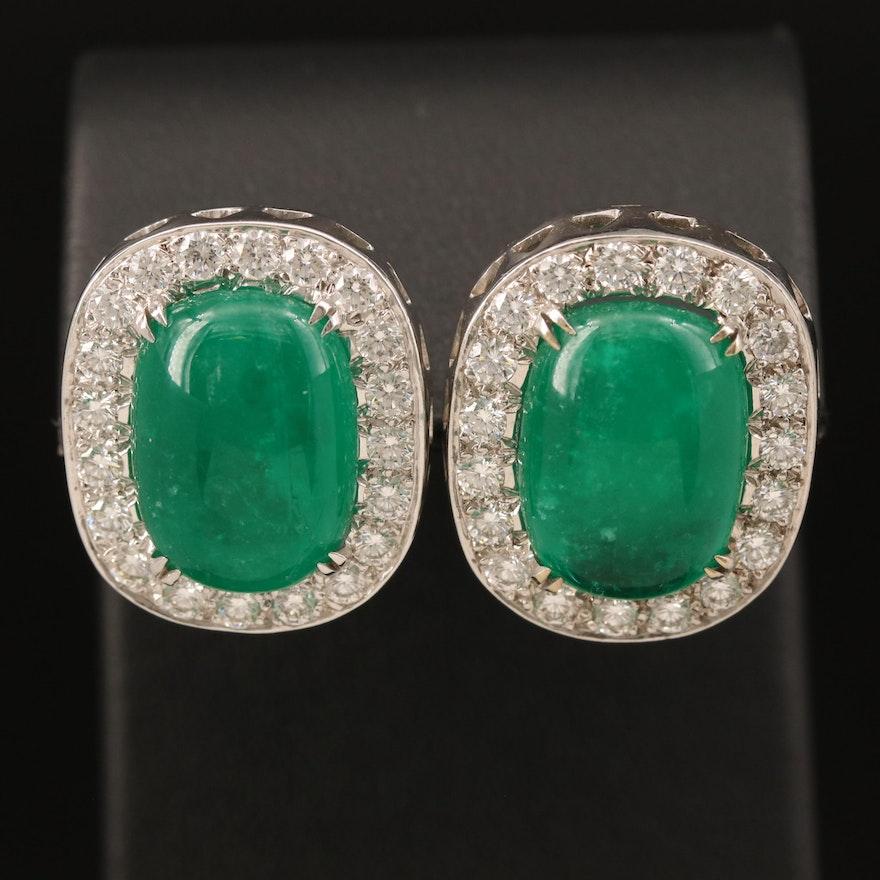 18K 18.26 CTW Emerald and 2.09 CTW Diamond Earrings