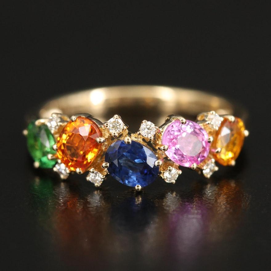 14K YELLOW GOLD DIAMOND, ORANGE SAPPHIRE, PINK SAPPHIRE, NATURAL SAPPHIRE, TSAVORITE, YELLOW SAPPHIRE RING