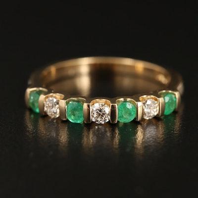 14K YELLOW GOLD DIAMOND, NATURAL EMERALD RING