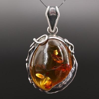 Sterling Silver Amber Foliate Pendant
