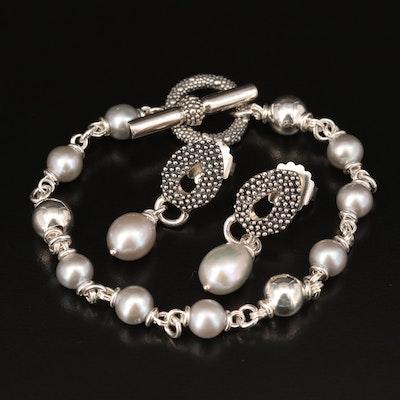 Michael Dawkins Sterling Pearl Bracelet and Earrings