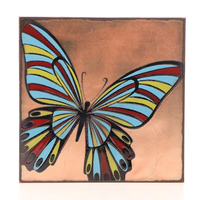 Ralph Marston Glazed Glass on Metal Butterfly Wall Hanging