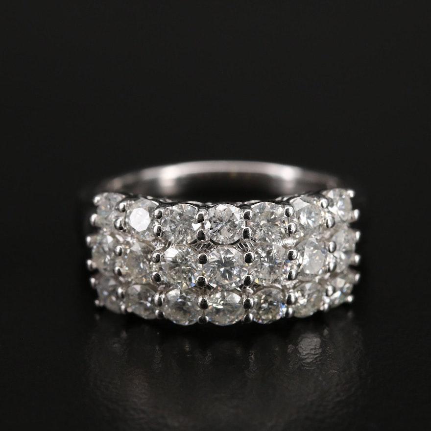 14K 2.00 CTW Diamond Triple Row Ring