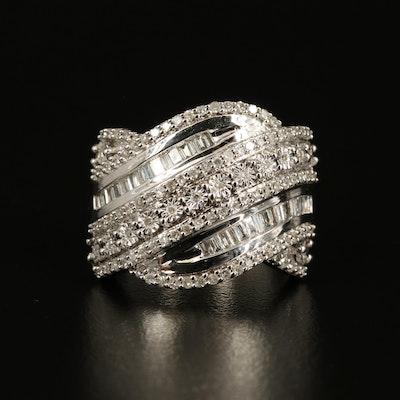 Sterling Diamond Crossover Ring