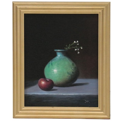 """Houra Alghizzi Still Life Oil Painting """"Plum and Baby's Breath,"""" 2021"""