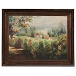 Large-Scale Village Landscape Oil Painting, Circa 2000
