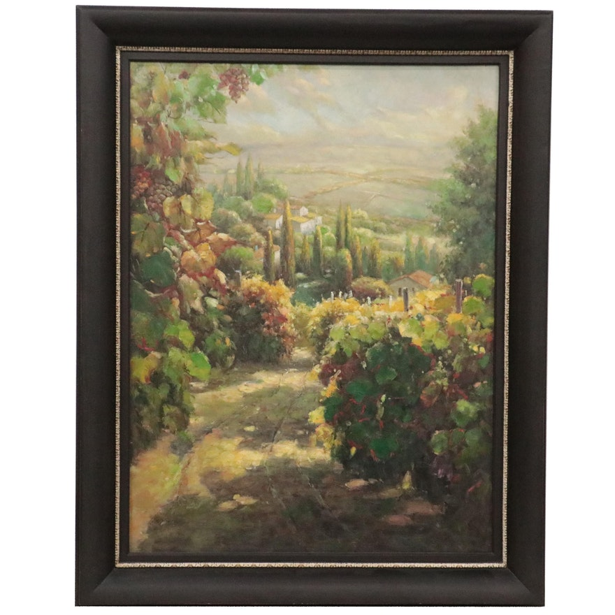Landscape Oil Painting of Italian Vineyard, Late 20th Century