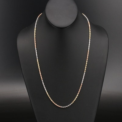 14K Tri-Color Rope Chain Necklace