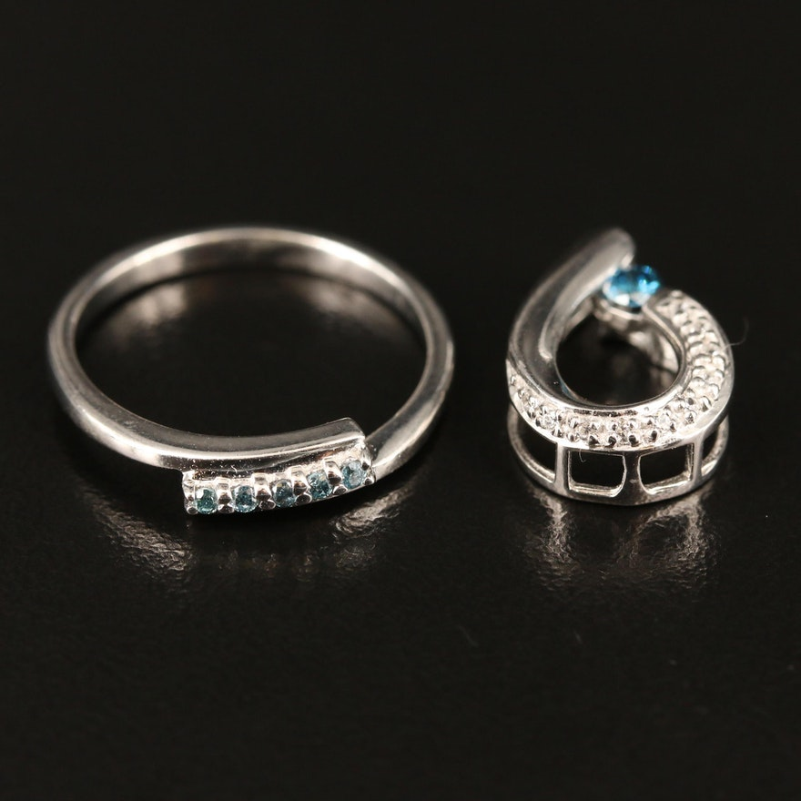 Sterling Diamond and Zircon Bypass Ring and Pendant