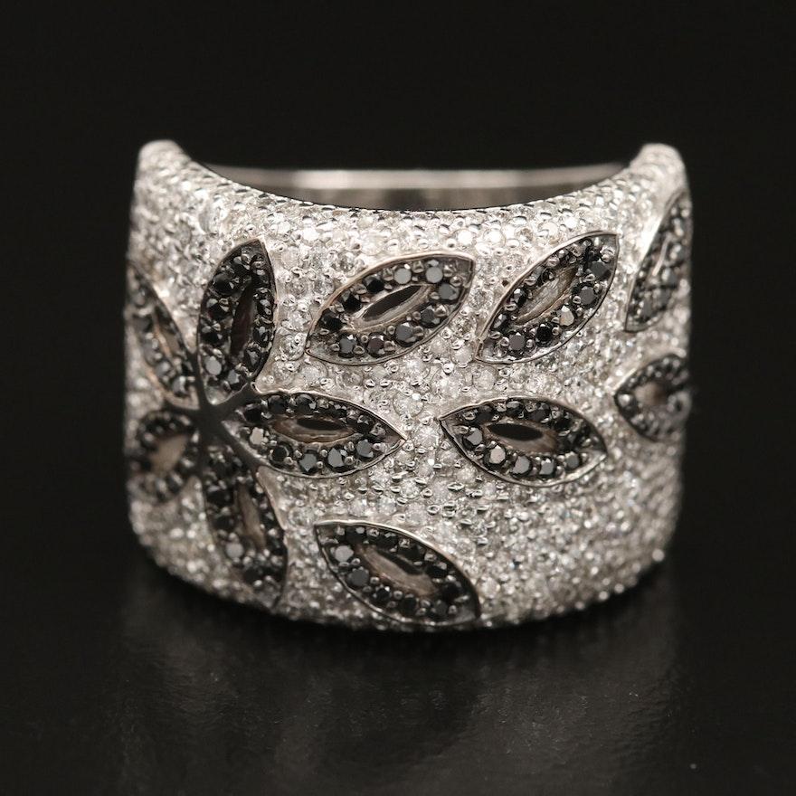 14K WHITE GOLD DIAMOND, BLACK DIAMOND, RING
