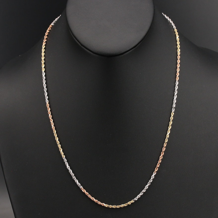 14K Tri-Tone Rope Chain Necklace
