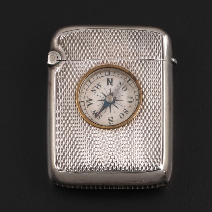 Minshull & Latimer English Sterling Silver Compass Pocket Vesta, 1878